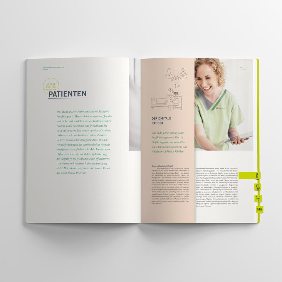 asklepios nachhaltigkeitsbericht doppelseite patienten frau 2018 polarwerk
